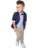 ieftine Seturi Îmbrăcăminte Băieți-Copil Băieți Activ Petrecere / Zilnic / Școală Mată Manșon Lung Regular Regular Bumbac Set Îmbrăcăminte Bleumarin