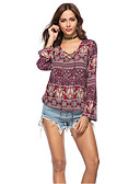 cheap Women's T-shirts-Women's Boho Cotton Shirt - Print V Neck