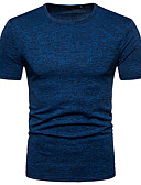 cheap Men's Hoodies & Sweatshirts-Men's Basic Slim T-shirt - Solid Colored Round Neck / Short Sleeve