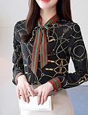 baratos Camisas Femininas-Mulheres Camisa Social - Trabalho / Para Noite Moda de Rua / Boho Floral Algodão