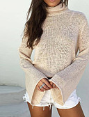 cheap Women's Sweaters-Women's Long Sleeves Flare Sleeve Pullover - Solid Color, Backless Turtleneck