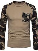 お買い得  メンズTシャツ&タンクトップ-男性用 Tシャツ ラウンドネック ソリッド コットン / 長袖