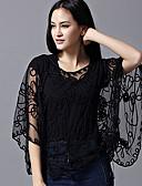 זול חולצות לנשים-אחיד פעיל עבודה גלישה - בגדי ריקוד נשים תחרה רקום סרוג שרוול עטלף