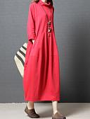 baratos Vestidos de Mulher-Mulheres Básico Algodão Solto / Camiseta Vestido Côr Sólida Gola Alta Médio Vermelho / Primavera