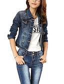 cheap Women's Leather & Faux Leather Jackets-Women's Denim Jacket - Solid Shirt Collar