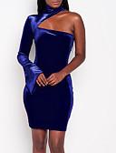 זול חולצה-כחול צווארון עגול קצר מיני חלול חיצוני, צבע אחיד - שמלה צינור סקיני קטיפה מידות גדולות סגנון רחוב Party / מועדונים בגדי ריקוד נשים / אביב