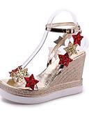 cheap Women's Pants-Women's Shoes PU(Polyurethane) Summer Mary Jane Sandals Wedge Heel Open Toe Sequin Gold / Silver / Wedge Heels