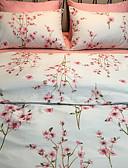 זול שמלות נשים-סטי שמיכה פרחוני 4 חלקים פולי / כותנה הדפסה תגובתית פולי / כותנה כיסוי שמיכת יחידה 1 כריות מיטה 2 יחידות סדין יחידה 1
