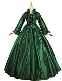 tanie Męskie koszule-Vintage Rokoko Kostium Damskie Stroje Zielony i czarny Postarzane Cosplay Satyna Długi rękaw Pompiasty / Balonowy
