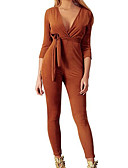 cheap Women's Jumpsuits & Rompers-women's jumpsuit - solid colored pencil v neck