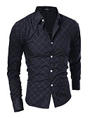 זול טישרטים לגופיות לגברים-Houndstooth רזה בסיסי / סגנון סיני חולצה - בגדי ריקוד גברים / שרוול ארוך
