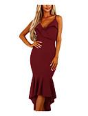 זול שמלות נשים-צווארון V / כתפיה / סטרפלס מותניים גבוהים מידי / א-סימטרי קפלים, צבע אחיד - שמלה צינור / בתולת ים \חצוצרה בגדי ריקוד נשים / קיץ