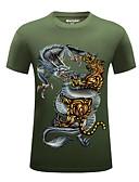 preiswerte Herren T-Shirts & Tank Tops-Herrn Geometrisch / Tier - Grundlegend / Street Schick / Chinoiserie Sport Übergrössen Baumwolle T-shirt, Rundhalsausschnitt Druck / Kurzarm / Sommer