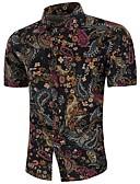 baratos Camisas Masculinas-Homens Tamanhos Grandes Camisa Social Boho Estampado, Geométrica Linho