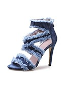 cheap Women's Dresses-Women's Shoes Cowsuede Leather Spring / Summer Novelty Sandals Chunky Heel Open Toe Blue / Party & Evening
