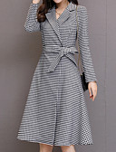 cheap Women's Trench Coat-Women's Cotton Trench Coat - Solid Colored / Striped Shirt Collar / Spring