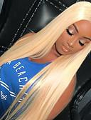 hesapli Lüks Saatler-Kökten Saç Tutkalsız Dantel Ön Ön Dantel Peruk stil Düz Brezilya Saçı Düz Peruk % 150 Saç yoğunluğu Bebek Saçlı Doğal saç çizgisi 100% bakire Kadın's Şort Gerçek Saç Örme Peruklar Guanyuwigs