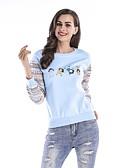 ieftine Tricou-Pentru femei Bumbac Pantaloni - Curcubeu Imprimeu Alb L / Primăvară / Concediu