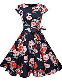 זול שמלות נשים-עד הברך דפוס, פרחוני - שמלה סווינג רזה כותנה פעיל בסיסי עבודה ליציאה בגדי ריקוד נשים