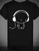 billiga T-shirts och brottarlinnen till herrar-Tryck, Tecknat T-shirt - Grundläggande Herr Rund hals Vit XL / Kortärmad / Sommar