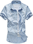 זול חולצות לגברים-רזה חולצה - בגדי ריקוד גברים דפוס / שרוולים קצרים