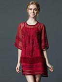 זול שמלות נשים-עד הברך קפלים, אחיד - שמלה גזרת A כותנה וינטאג' בגדי ריקוד נשים