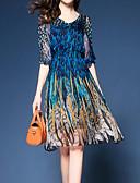 זול שמלות נשים-כחול צווארון V עד הברך דפוס, פרחוני - שמלה נדן רזה מתוחכם בוהו חגים בגדי ריקוד נשים