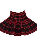 povoljno Suknje za djevojčice-Djeca Djevojčice Aktivan Cvjetni print Karirani uzorak Pamuk Suknja Crn