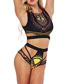 billige Truser-Dame Stroppeløs Svart Bikini Badetøy - Geometrisk Trykt mønster M L XL / Sexy