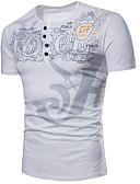 ieftine Maieu & Tricouri Bărbați-Bărbați Rotund Tricou Bumbac De Bază - Geometric Imprimeu / Manșon scurt / Zvelt