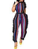 povoljno Ženski jednodijelni kostimi-Žene Izlasci Ulični šik Slim Jumpsuits - Nabori / Print, Prugasti uzorak Uski okrugli izrez Harem hlače / Proljeće / Ljeto