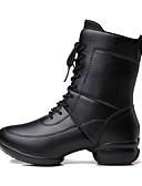 baratos Conjuntos Femininos-Mulheres Botas de Dança Pele Têni Recortes Sem Salto Personalizável Sapatos de Dança Preto