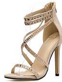 baratos Saias Femininas-Mulheres Sapatos Pêlo / Tule Primavera / Verão Gladiador / Plataforma Básica Sandálias Salto Agulha Pedrarias Preto / Amêndoa