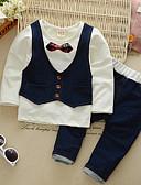 billige Tøjsæt til drenge-Baby Drenge Simple / Vintage / Basale Fest Ensfarvet / Patchwork Sløjfer Langærmet Bomuld Tøjsæt