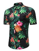 cheap Men's Shirts-Men's Beach Boho Plus Size Cotton Shirt - Tropical Pineapple, Print Classic Collar / Short Sleeve