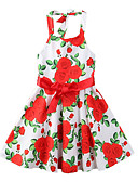 preiswerte Kleider für Mädchen-Mädchen Kleid Party Ausgehen Blumen Druck Polyester Sommer Ärmellos Niedlich Boho Rote