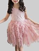 Χαμηλού Κόστους Φορέματα για κορίτσια-Παιδιά Κοριτσίστικα Πάρτι / Καθημερινά Patchwork Δαντέλα / Patchwork Αμάνικο Ρεϊγιόν / Πολυεστέρας Φόρεμα Λευκό / Χαριτωμένο