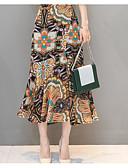 זול חצאיות לנשים-קפלים אחיד / פרחוני - חצאיות כותנה צינור מידות גדולות בגדי ריקוד נשים