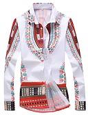 baratos Camisas Masculinas-Homens Tamanhos Grandes Camisa Social Boho Estampado, Tribal Colarinho Clássico Delgado / Manga Longa