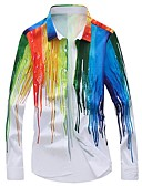 cheap Men's Shirts-Men's Club Street chic / Exaggerated Plus Size Slim Shirt - Striped / Rainbow Print / Long Sleeve