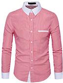 זול טישרטים לגופיות לגברים-פסים רזה חולצה - בגדי ריקוד גברים / שרוול ארוך