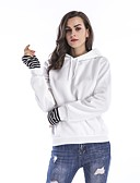 cheap Women's Hoodies & Sweatshirts-Women's Cotton Hoodie - Solid Colored White L / Spring