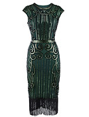 cheap Historical & Vintage Costumes-The Great Gatsby 1920s Costume Women's Flapper Dress Black+Sliver / Bule / Black / Red Vintage Cosplay Polyester Sleeveless Tea Length / Sequins