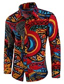 cheap Men's Tees & Tank Tops-Men's Boho Plus Size Cotton Shirt - Tribal Print Spread Collar / Long Sleeve