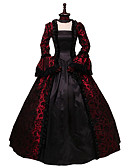 cheap Historical & Vintage Costumes-Rococo Victorian Costume Dress Black / Red Vintage Cosplay Flocked Long Sleeve Flare Sleeve Ball Gown