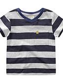 baratos Camisas para Meninos-Para Meninos Diário Listrado Camiseta, Poliéster Primavera Verão Manga Curta Moda de Rua Azul Vermelho Azul Real