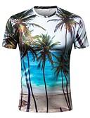 baratos Camisetas & Regatas Masculinas-Homens Camiseta Básico Estampado, Geométrica Decote Redondo Delgado / Manga Curta