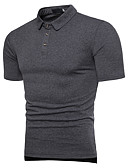 cheap Men's Shirts-Men's Active Cotton Polo - Solid Colored Basic Shirt Collar / Short Sleeve