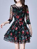 זול טישרט-מעל הברך רקום, פרחוני - שמלה נדן רזה מידות גדולות מתוחכם חגים בגדי ריקוד נשים