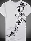baratos Camisetas & Regatas Masculinas-Homens Camiseta Moda de Rua Básico, Floral Decote Redondo / Manga Curta